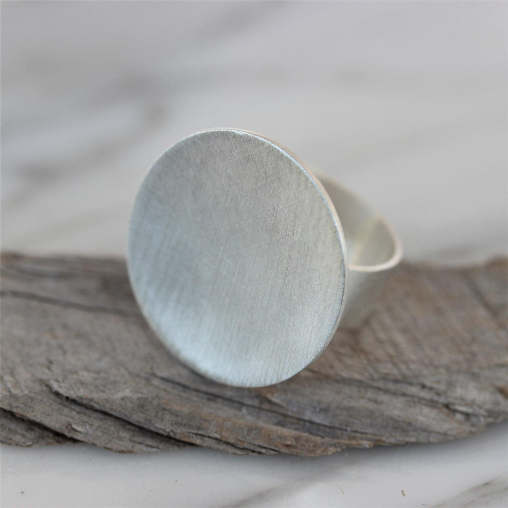 Genuine Sterling Silver 925 Modern Contemporary 25mm Disc Circle Ring Handmade