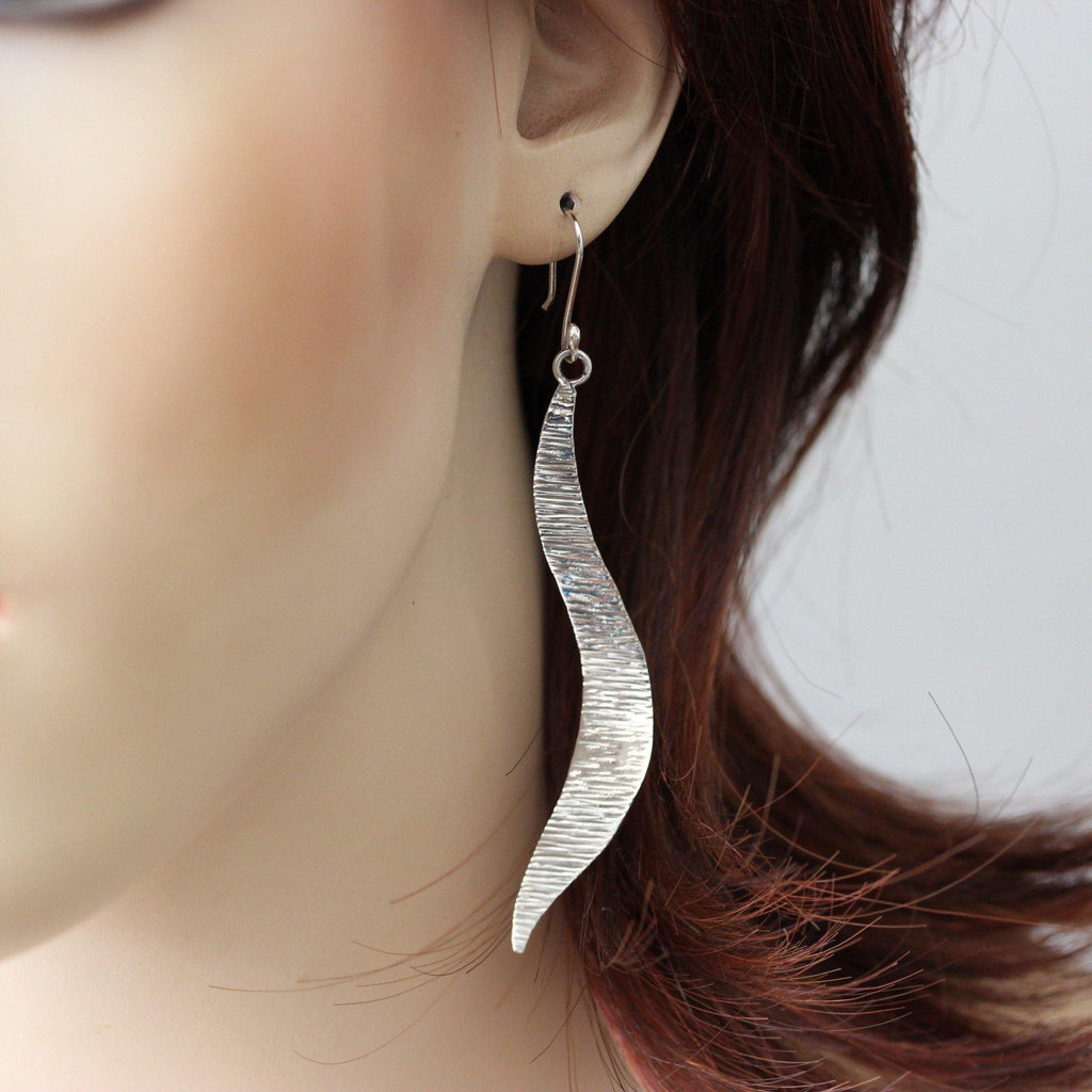 Genuine Sterling Silver 925 Modern Long Textured Swirl Bar Hook Drop Earrings