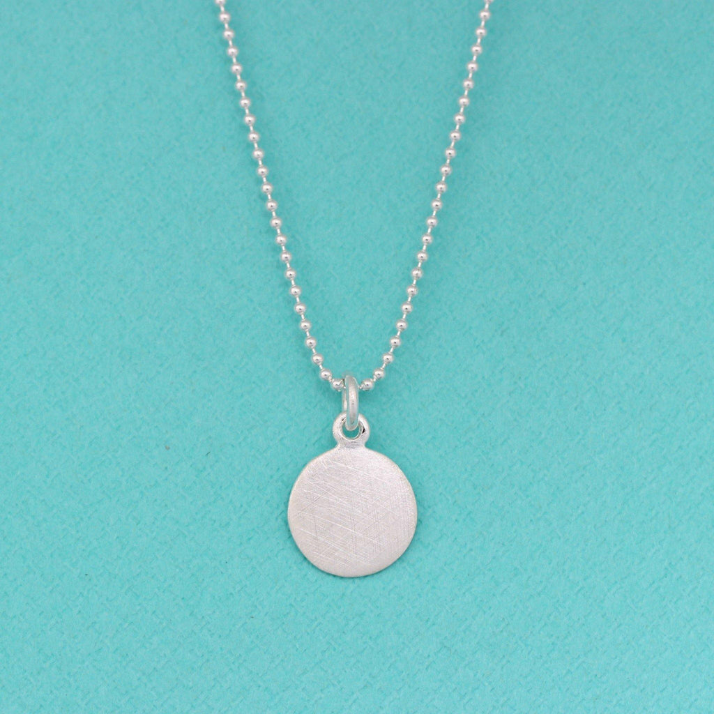 Sterling Silver 11mm Round Brushed Matt Look Disc Pendant & 40cm Ball Necklace