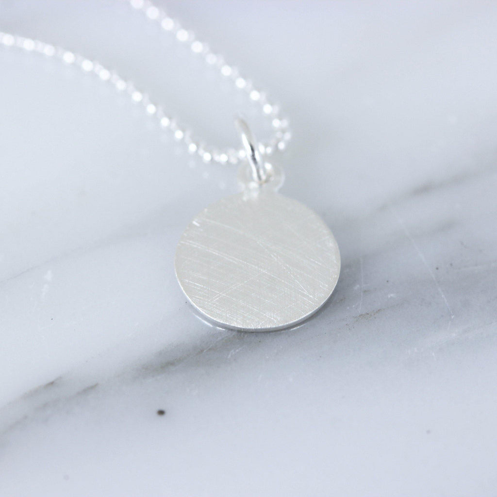 Sterling Silver 11mm Round Brushed Matt Look Disc Pendant & 45cm Ball Necklace