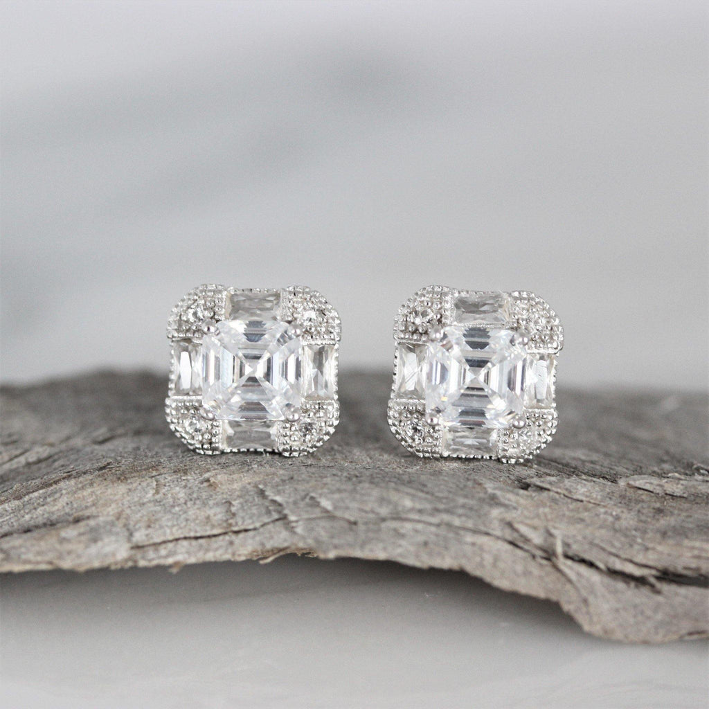 Sterling Silver Bridal Wedding 9mm Asscher Cut CZ Halo Stud Earrings Deco Look