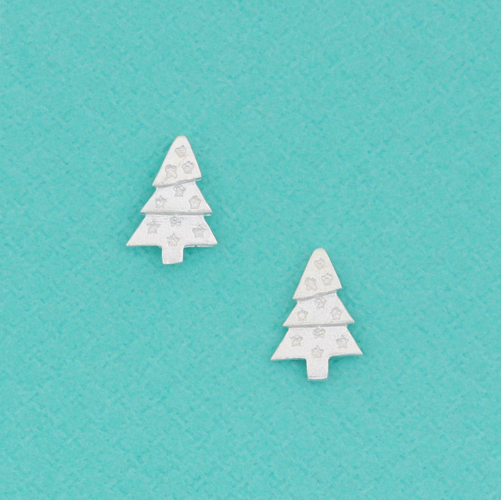 Genuine Sterling Silver 925 Christmas Tree Brushed Matt Look Stud Earrings
