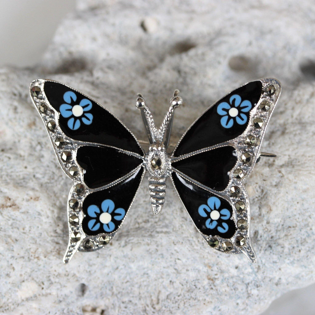 Sterling Silver 925 Marcasite & Enamel Butterfly Vintage Inspired Brooch Pin