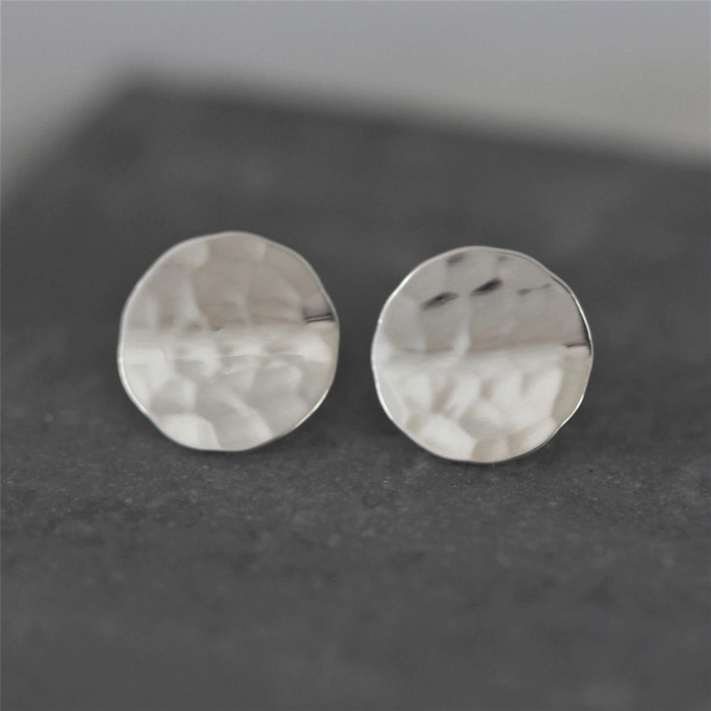 Genuine Sterling Silver 13mm Round Concave Disc Hammered Modern Stud Earrings