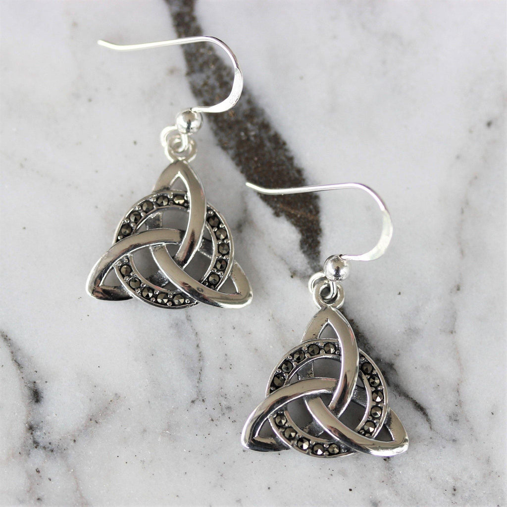 Sterling Silver 925 Marcasite Celtic Knot Vintage Style Drop Dangle Earrings