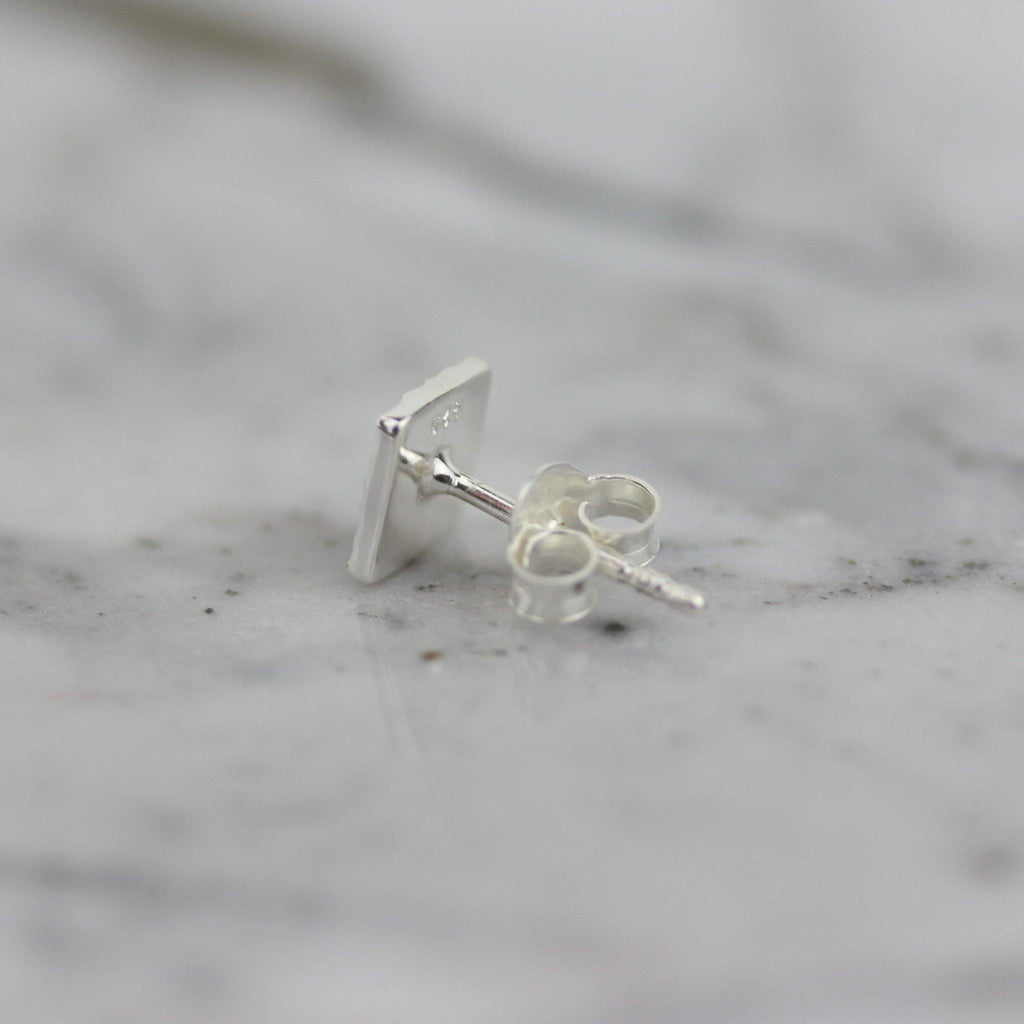 Sterling Silver Small 6mm Square Hammered Beaten Modern Stud Earrings