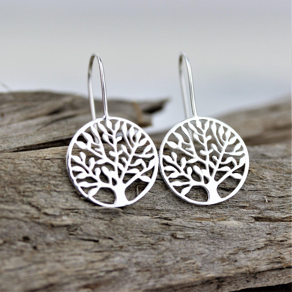 Tree of Life Drop Earrings Genuine Sterling Silver 925 Cut Out Style on Hook