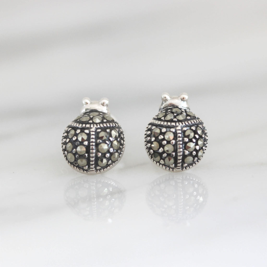 Genuine Sterling Silver 925 Marcasite Vintage Style Ladybug Stud Earrings