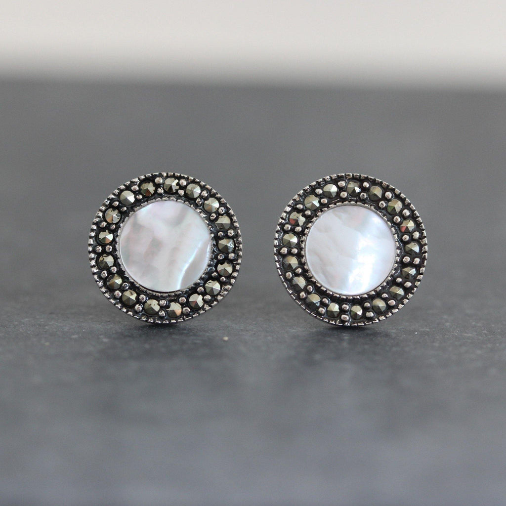 Genuine Sterling Silver 925 10mm Round Marcasite & Mother of Pearl Stud Earrings