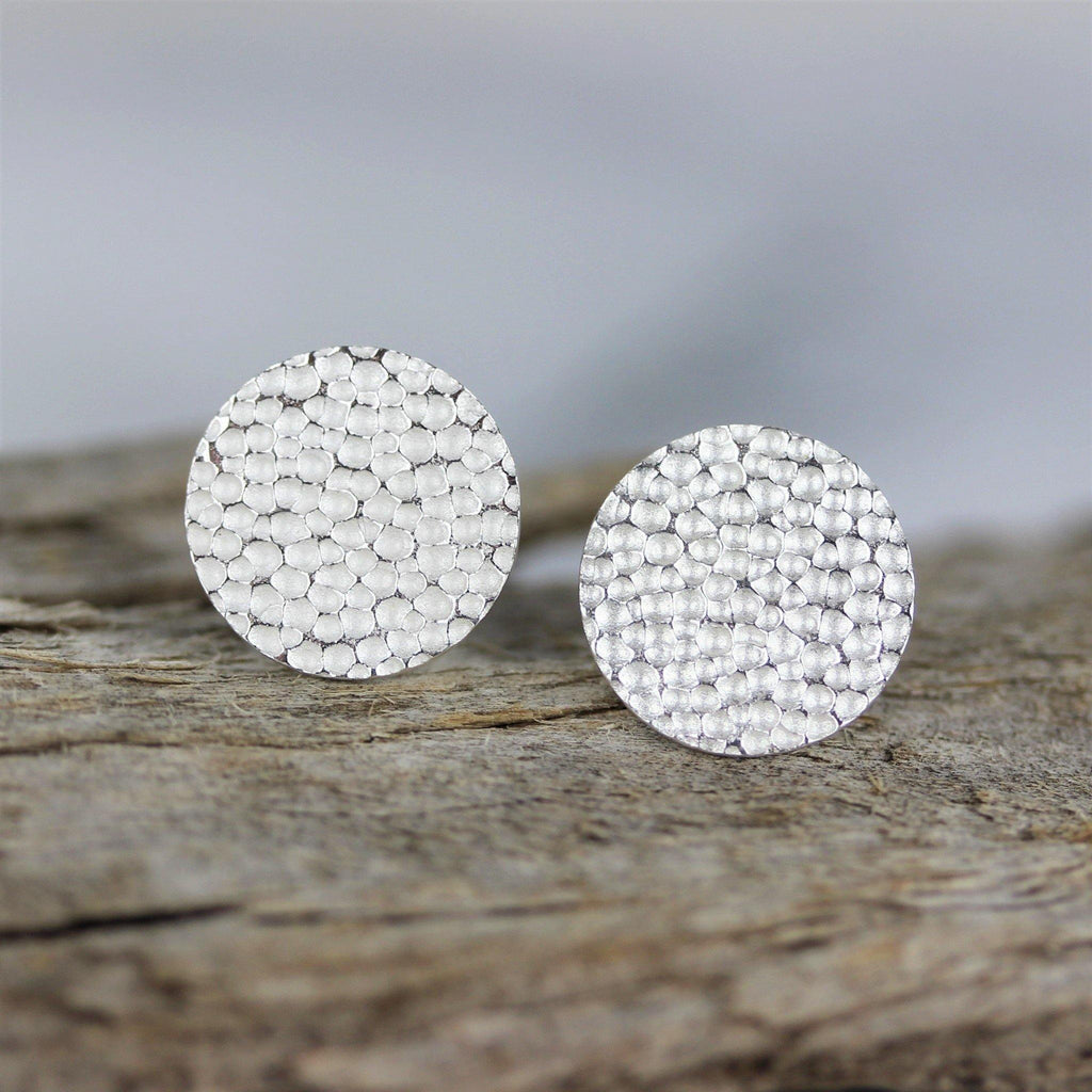 Genuine Sterling Silver 925 13mm Round Hammered Beaten Flat Disc Stud Earrings