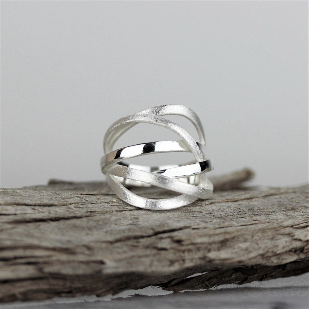 Sterling Silver 925 Modern Matt Brushed Finish Conjoined Multi Ring GIGI DESIGNS