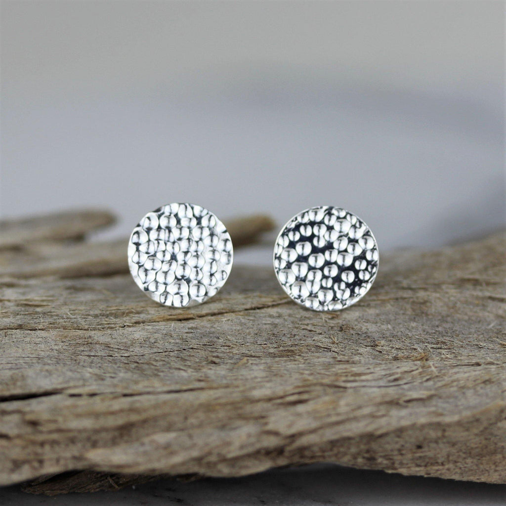 Genuine Sterling Silver 925 10mm Round Hammered Beaten Flat Disc Stud Earrings