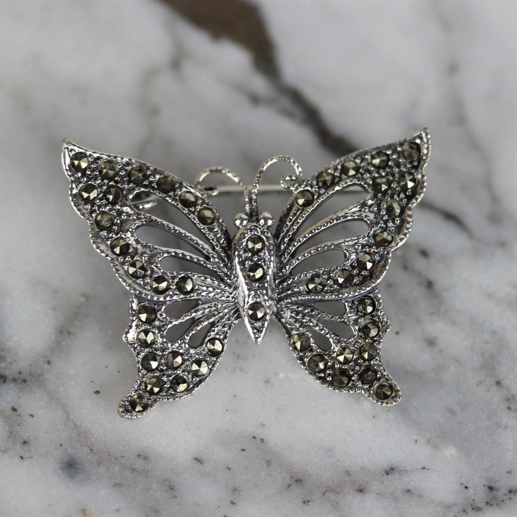 Genuine Sterling Silver 925 Butterfly Marcasite Vintage Inspired Brooch Pin
