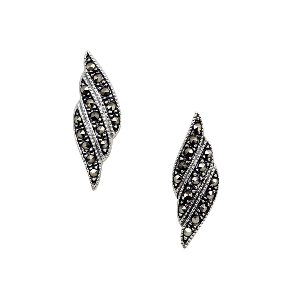 Sterling Silver 925 Vintage Inspired Marcasite Stud Earrings GIGI DESIGNS