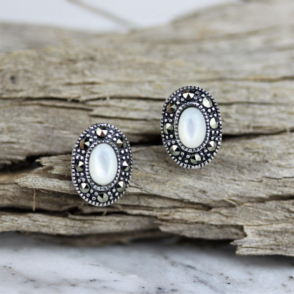 Sterling Silver 925 Marcasite & Mother of Pearl Oval Stud Earrings 8 X 11mm