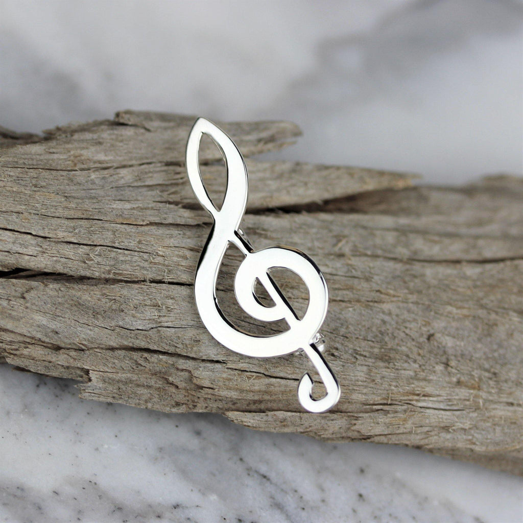 Genuine Sterling Silver 925 G Clef Music Notes Shaped Brooch Pin Plain Silver
