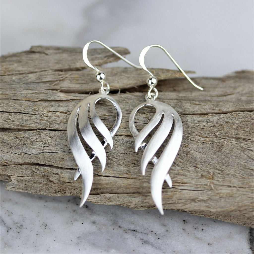 Genuine Sterling Silver 925 Modern Wings Drop Hook Earrings Matt Brushed Finish