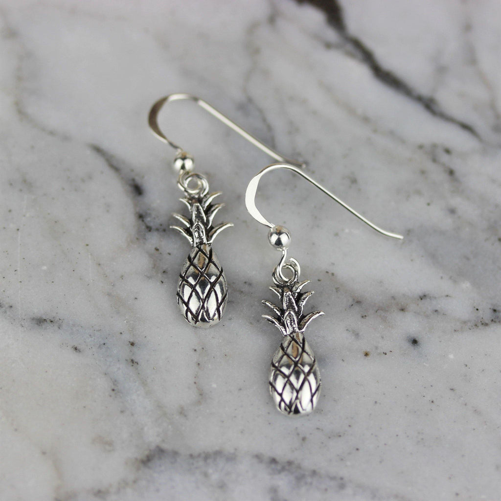Genuine Sterling Silver 925 Pineapple Fruit Drop Dangle Hook Earrings