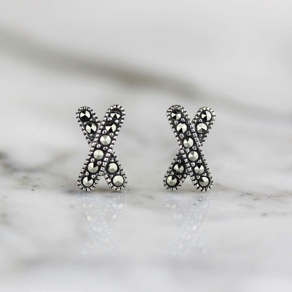 Genuine Sterling Silver 925 Marcasite Vintage Style Criss Cross X Stud Earrings