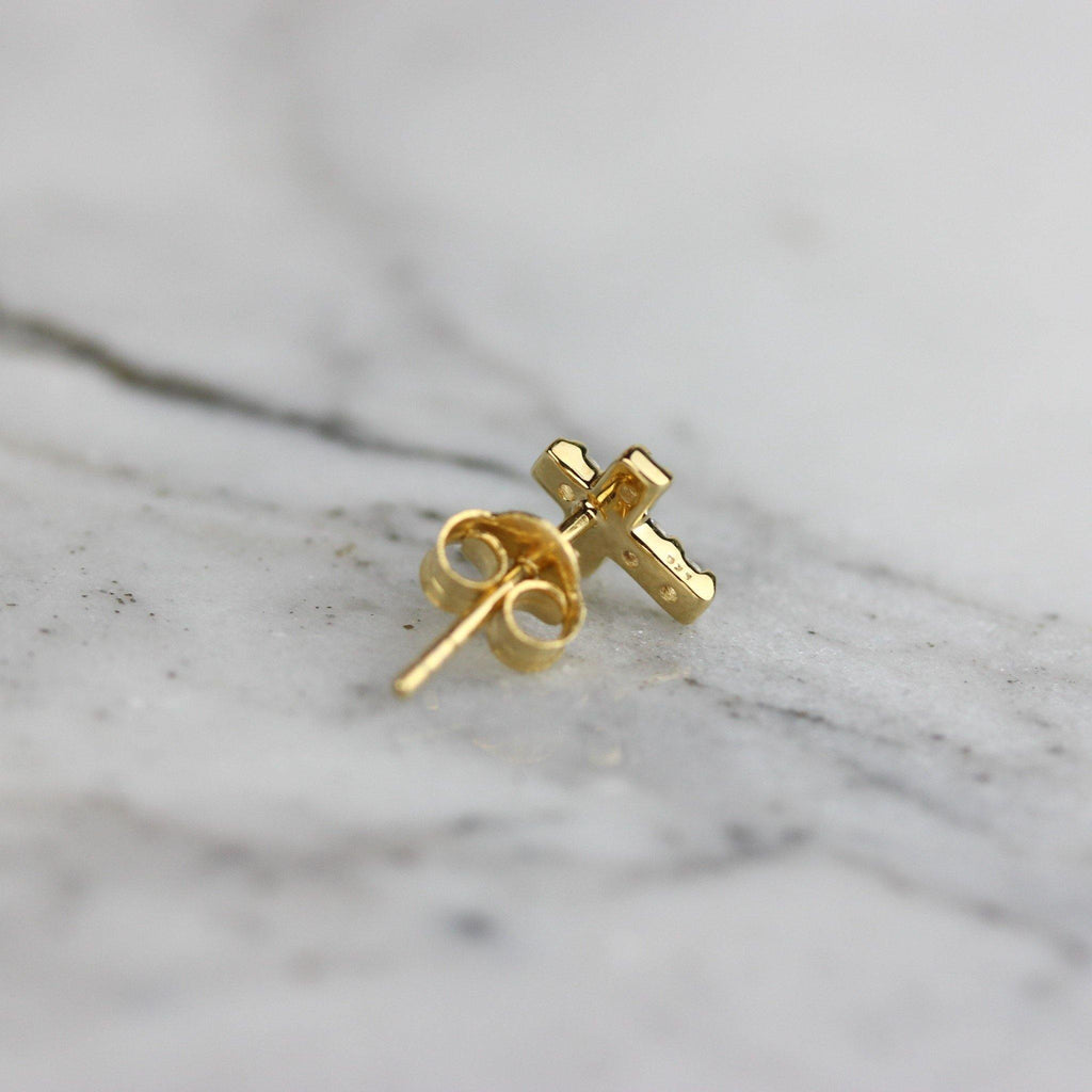 Sterling Silver Yellow Gold Plated Small Tiny CZ Religious Cross Stud Earrings
