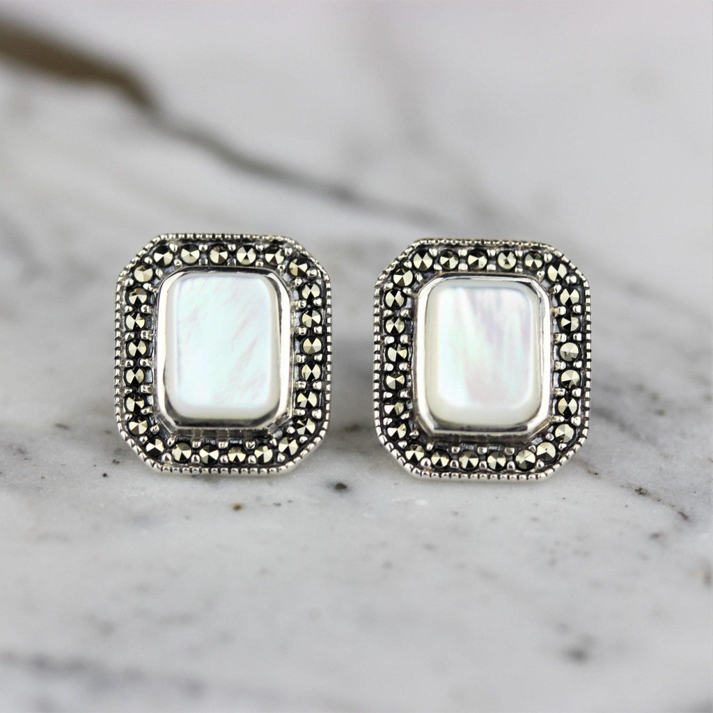 Sterling Silver Marcasite & Mother of Pearl Big Rectangle Stud Earrings 12X14mm