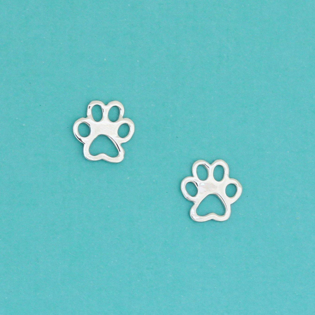 Genuine Sterling Silver 7mm Cut Out Dog Paw Stud Animal Earrings Ladies Kids
