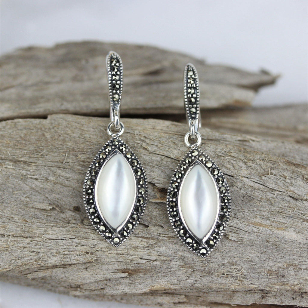 Genuine Sterling Silver 925 Marcasite & Mother Of Pearl Drop Dangle Earrings