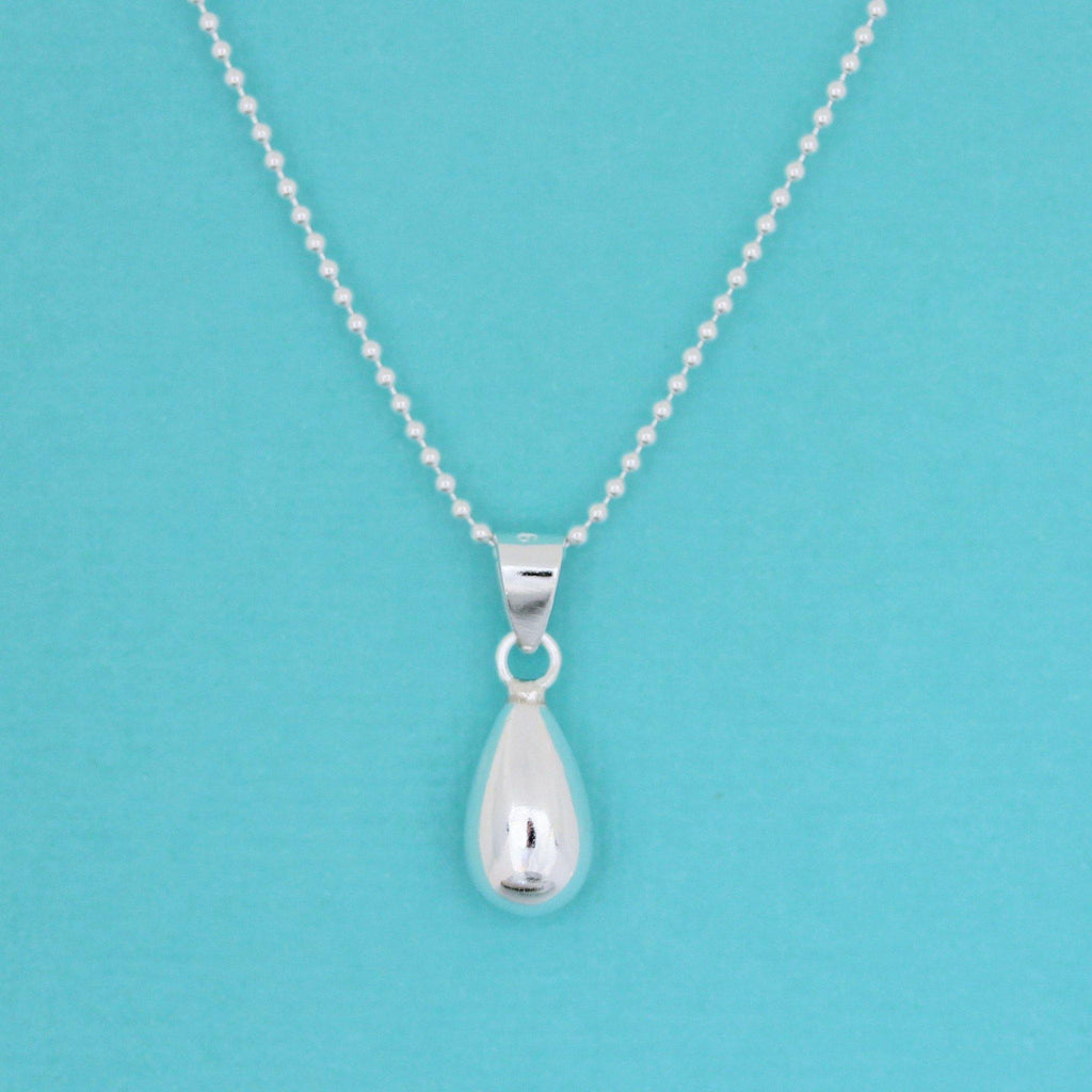 Genuine Sterling Silver 925 Teardrop Pendant & 40cm Ball Chain Necklace