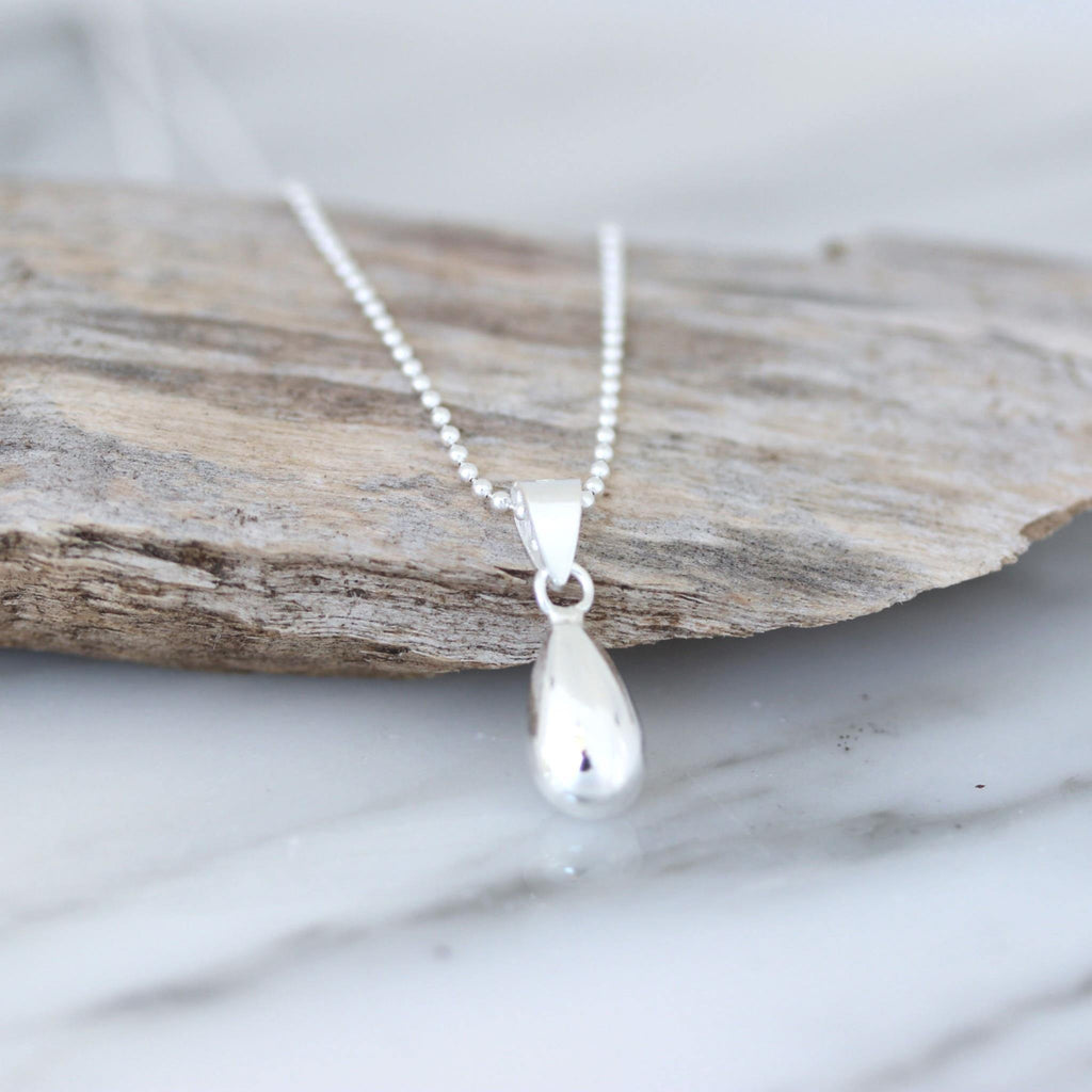 Genuine Sterling Silver 925 Teardrop Pendant & 45cm Ball Chain Necklace