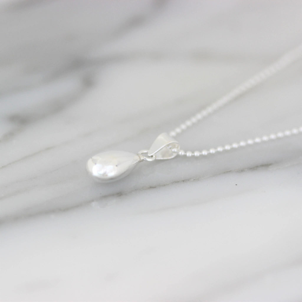 Genuine Sterling Silver 925 Teardrop Pendant & 50cm Ball Chain Necklace