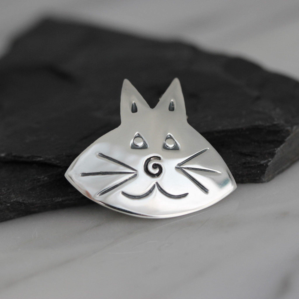 Genuine Sterling Silver 925 Cat Face Animal Brooch Pin Solid Silver