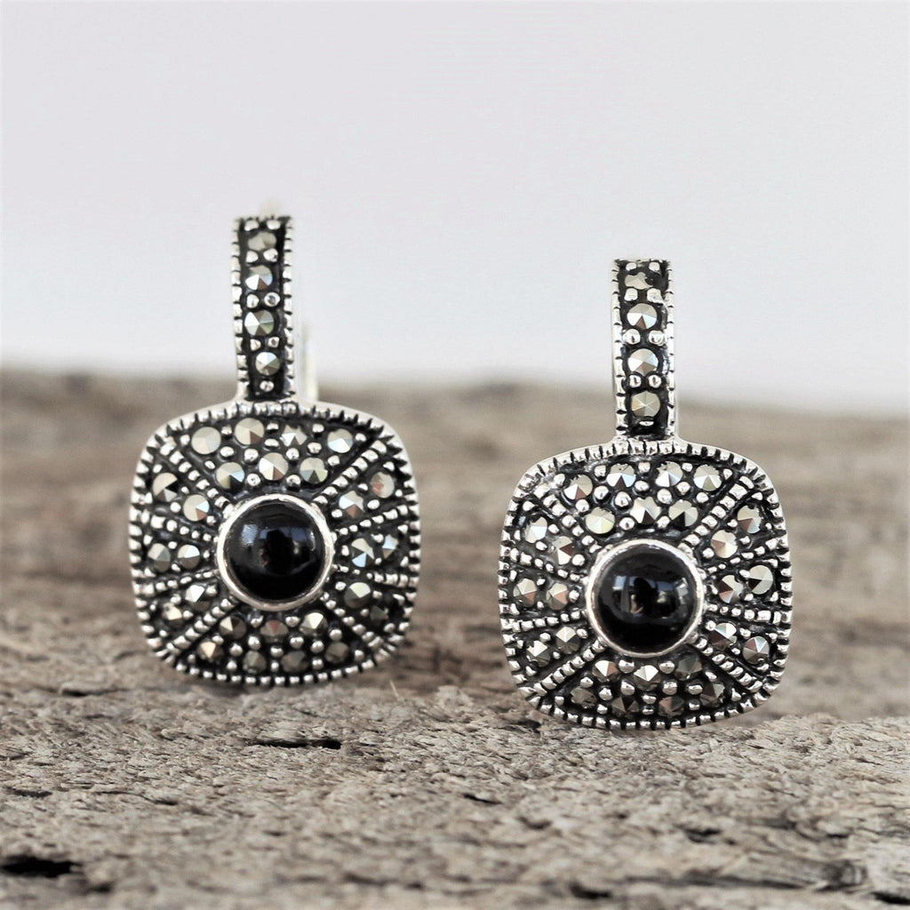 Sterling Silver Art Deco Style Marcasite & Black Onyx Leverback Drop Earrings
