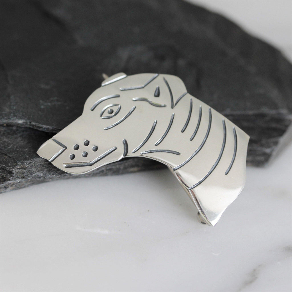Genuine Sterling Silver 925 Dog Face Animal Brooch Pin Solid Silver Dog Lover