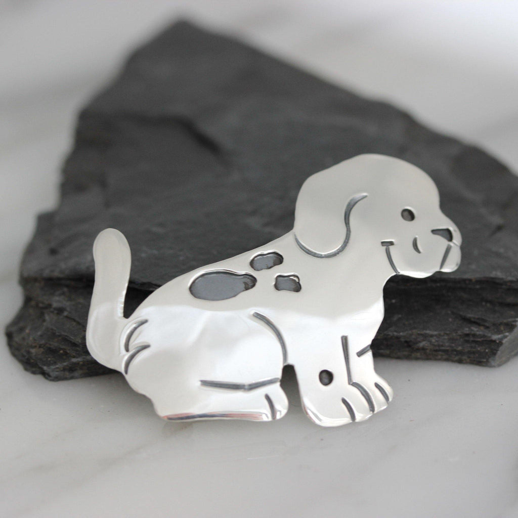 Genuine Sterling Silver 925 Puppy Dog Animal Brooch Pin Solid Silver