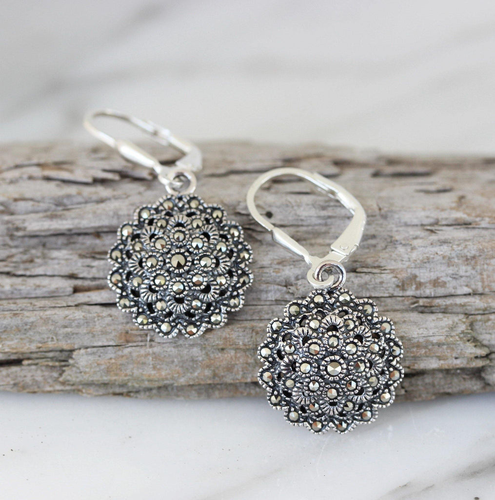 Sterling Silver 925 Marcasite Vintage Style 15mm Round Leverback Drop Earrings