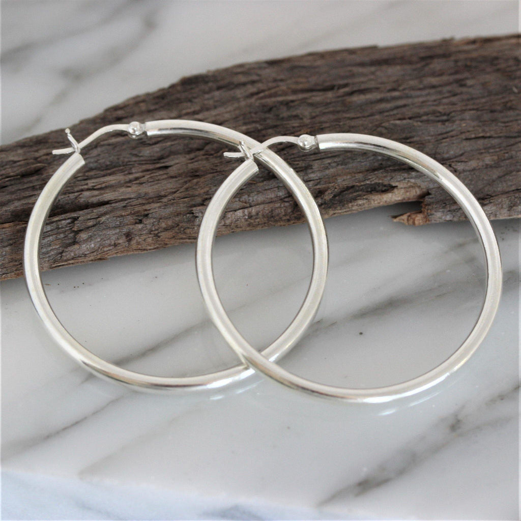 Genuine Sterling Silver 925 Big 5cm Diameter Hoop Earrings Snap Hook Closure