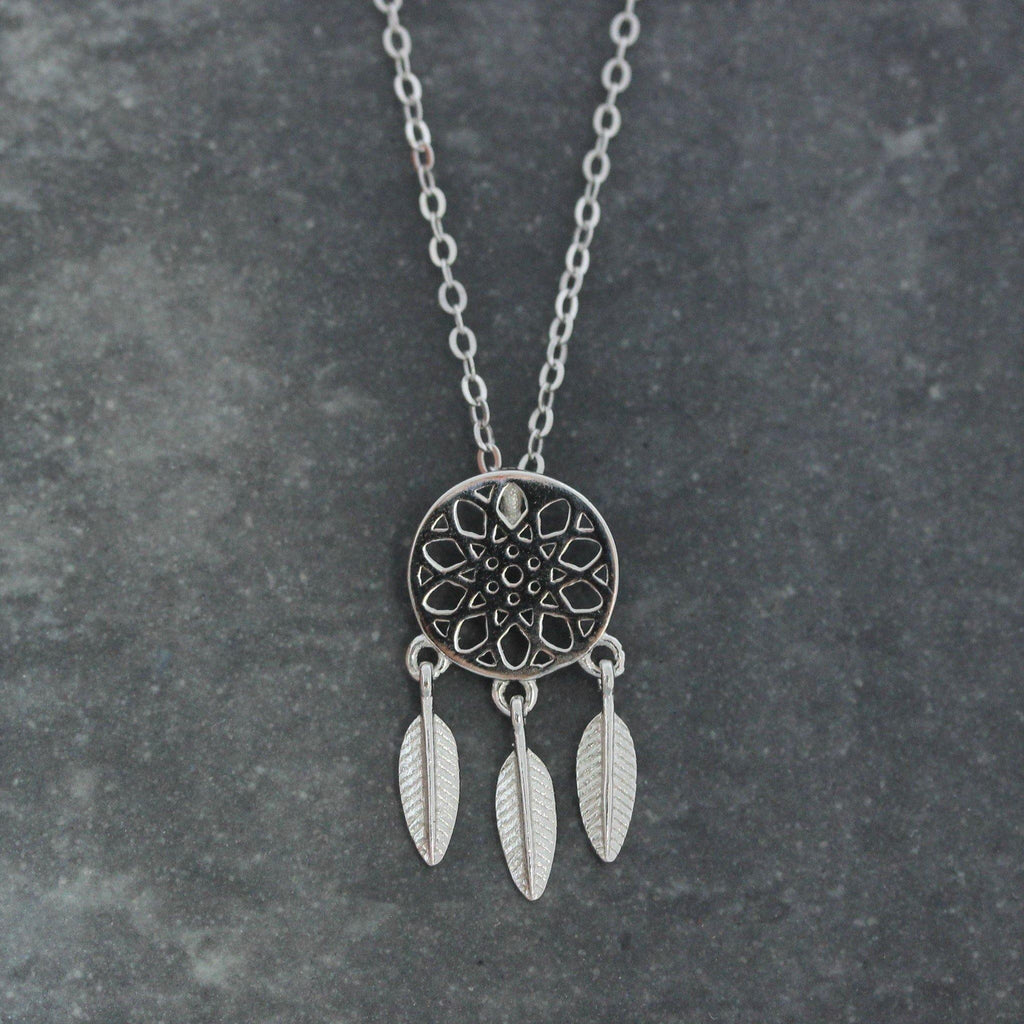 Sterling Silver 925 Small Dream Catcher Feather Pendant Necklace 41cm + 4cm Ext