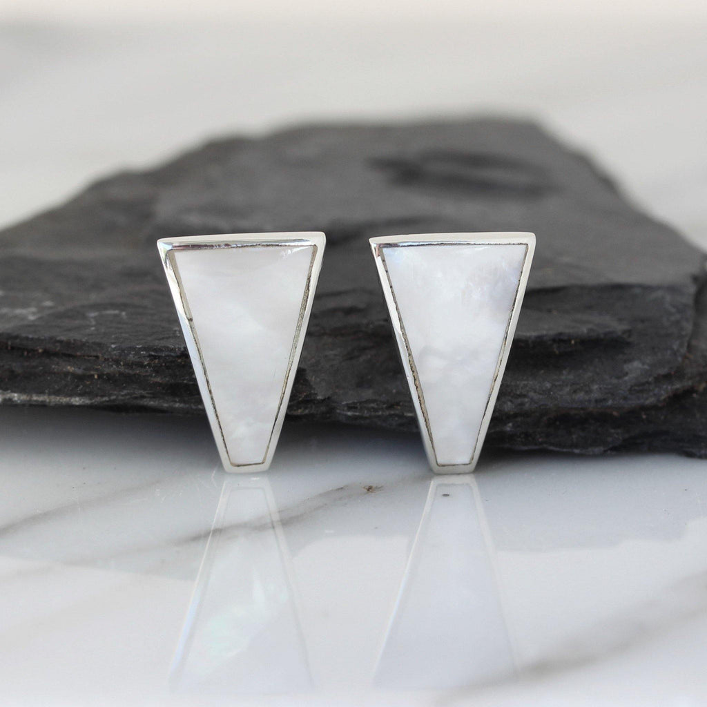 Sterling Silver Large Retro Style Mother of Pearl Triangular Shape Stud Earring
