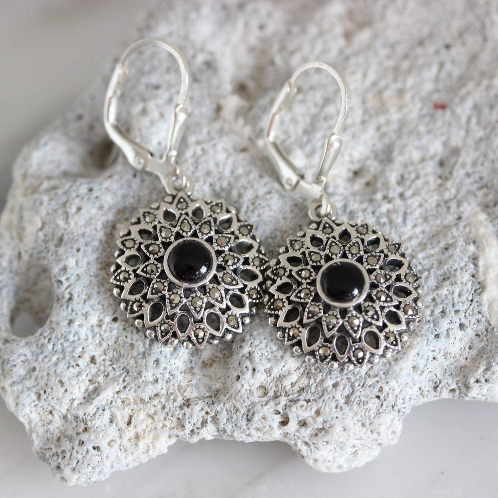GIGI DESIGNS Sterling Silver 18mm Marcasite & Black Onyx Leverback Drop Earrings