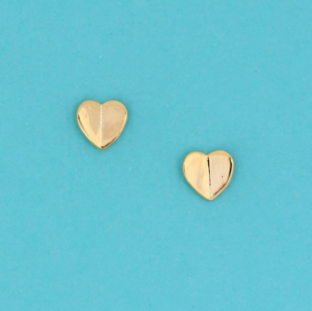 Genuine Sterling Silver 925 Small 6mm Heart Stud Earrings Yellow Gold Plated