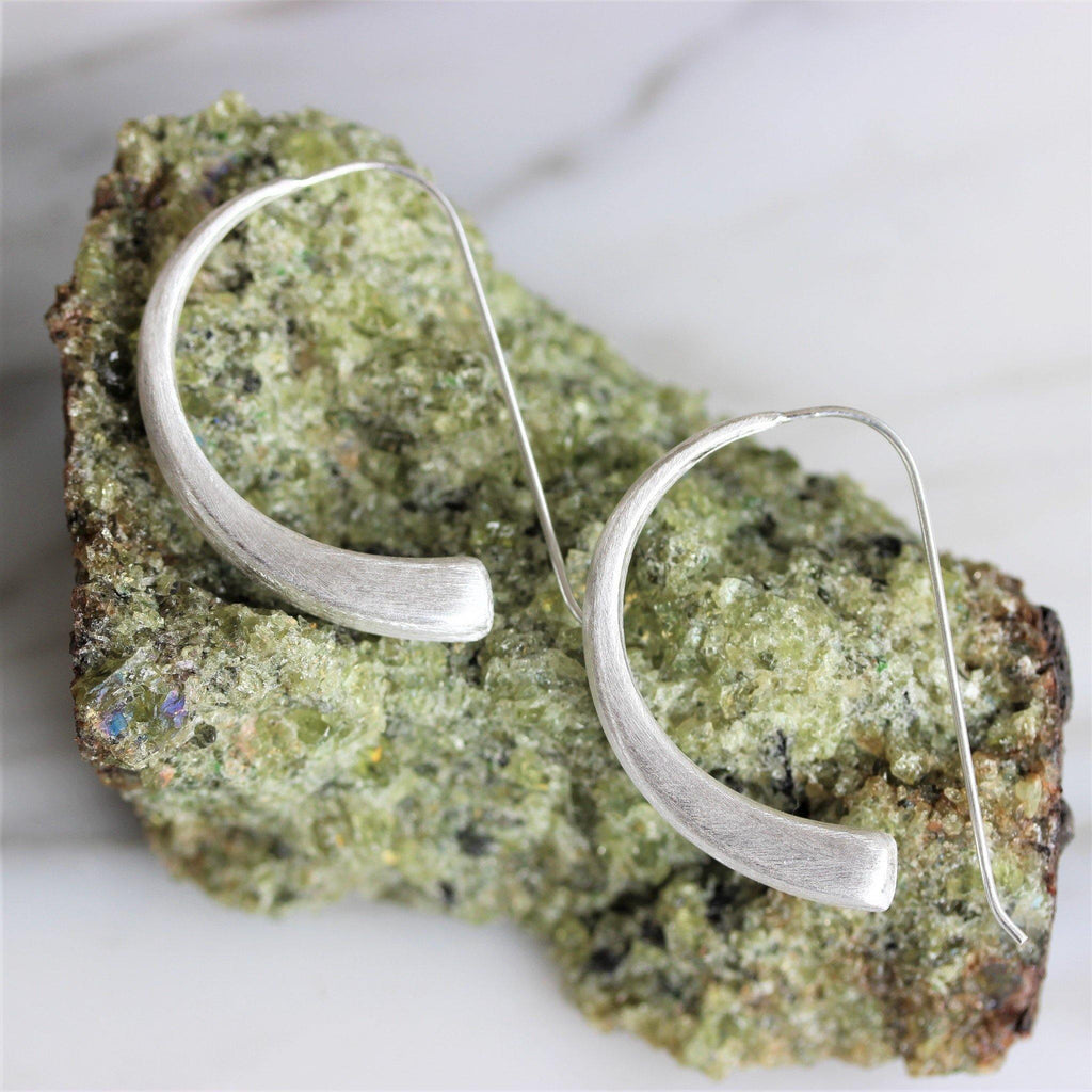 Genuine Sterling Silver 925 Modern Brushed Matt Finish Curved Hook Drop Earrings
