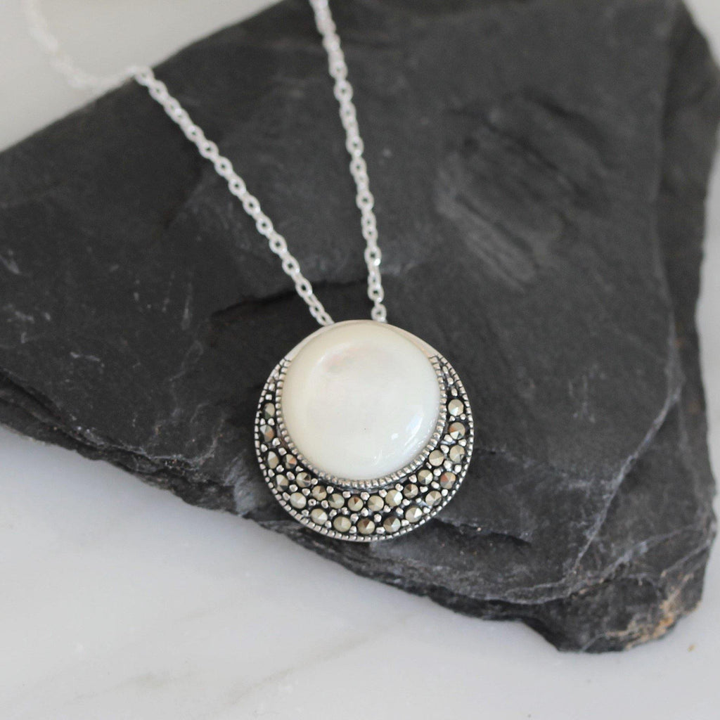 Sterling Silver 925 Marcasite & Mother of Pearl Vintage Inspired 45cm Necklace