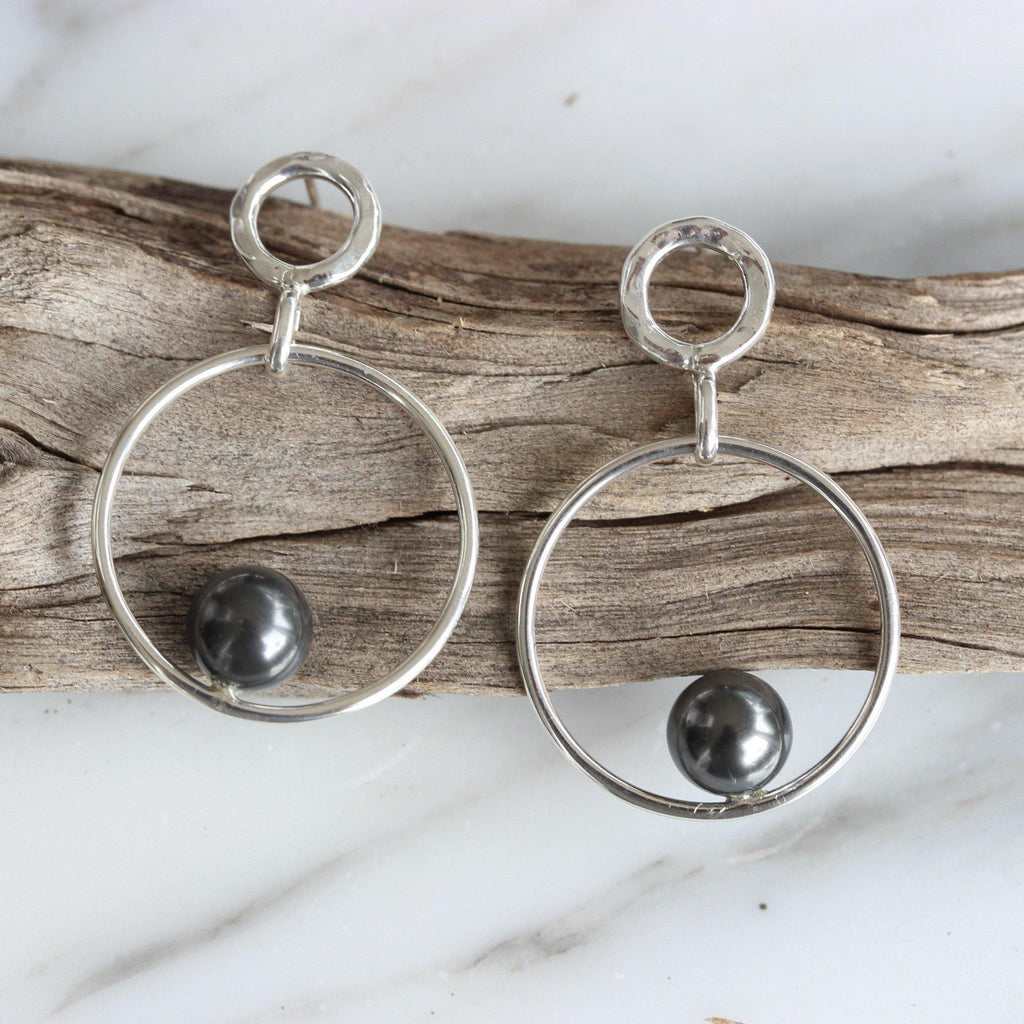Genuine Sterling Silver 925 Hammered Accents & Grey Pearl Drop Dangle Earrings