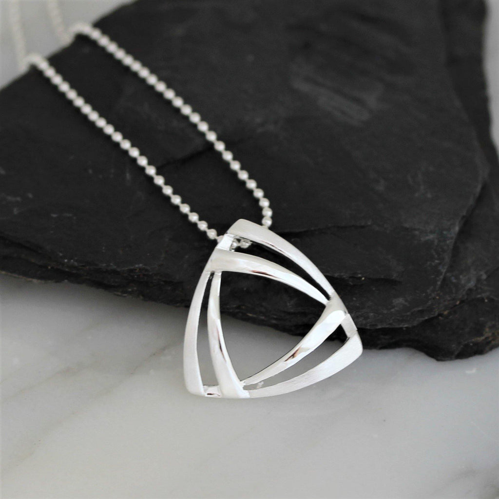 Sterling Silver 925 Modern Geometric Triangular Pendant 45cm Ball Chain Necklace