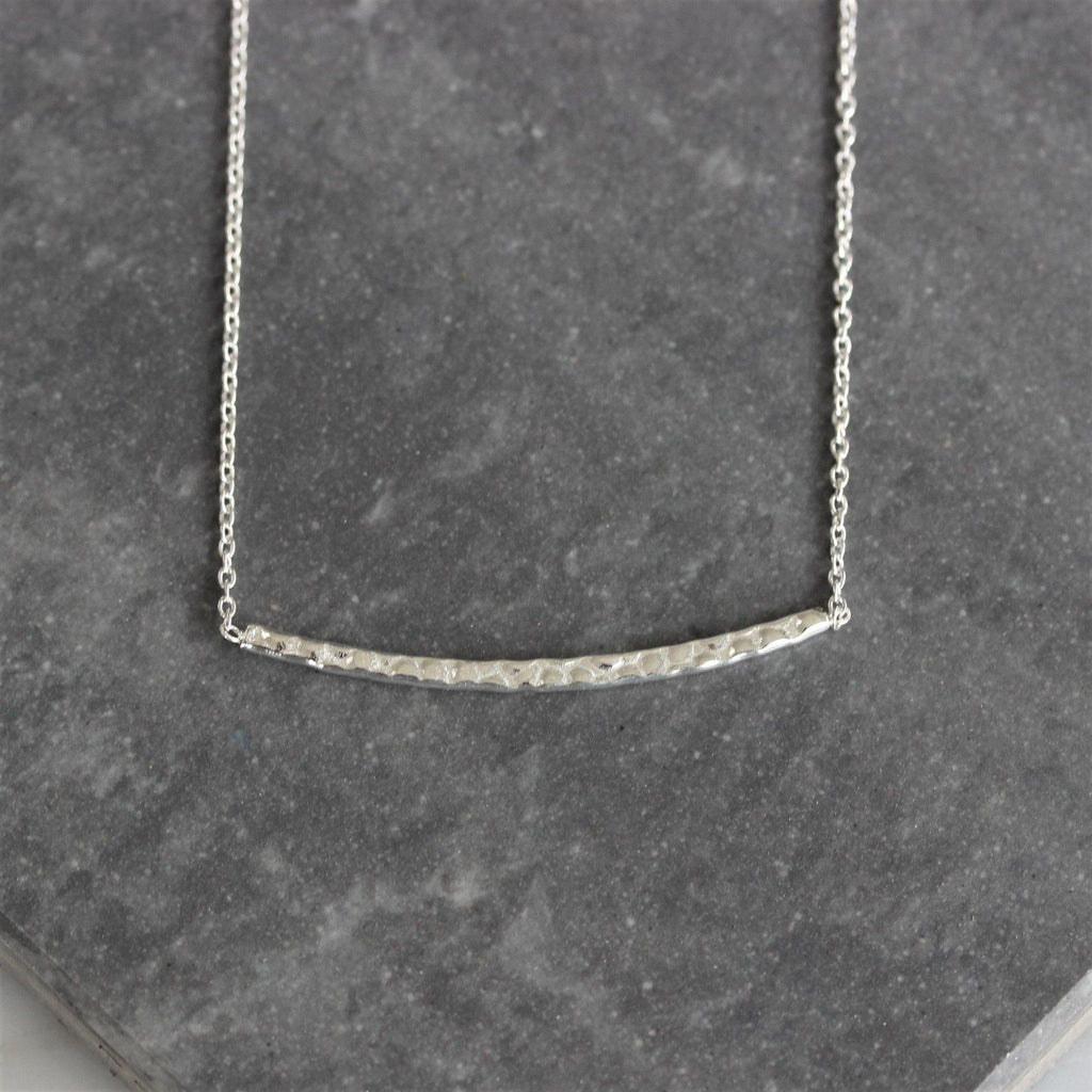 Sterling Silver Hammered Finish Horizontal Bar Necklace 40cm (Bar - 2mm X 38mm)
