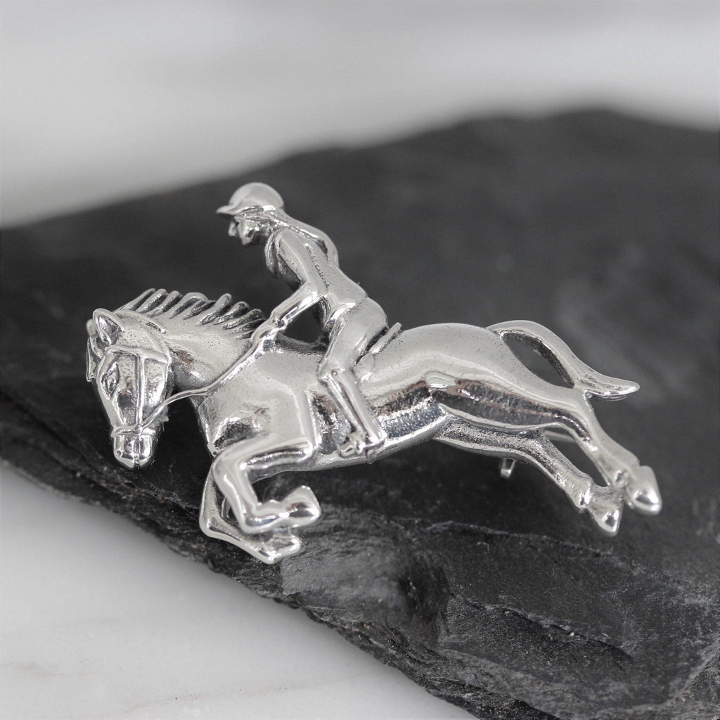 Genuine Sterling Silver Girl Lady Riding Jumping Horse Brooch Pin Equestrian