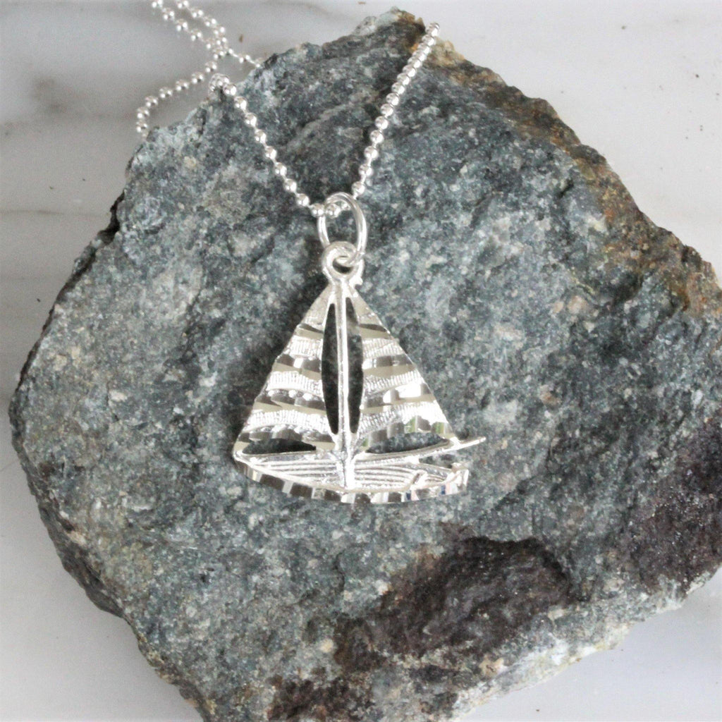 Sterling Silver 925 Sailing Boat Pendant & 45cm Ball Bead Chain Necklace