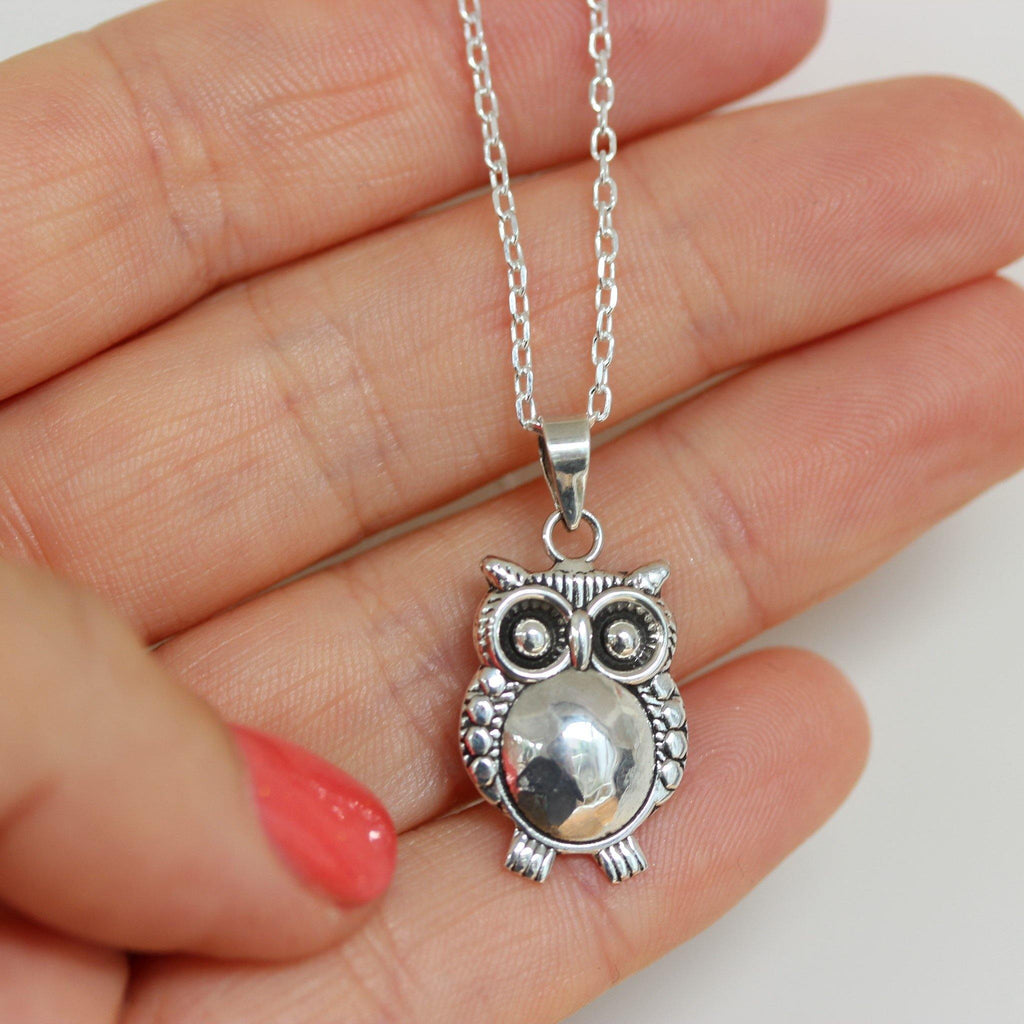 Genuine Sterling Silver 925 Owl Pendant & 45cm Italian Made Necklace