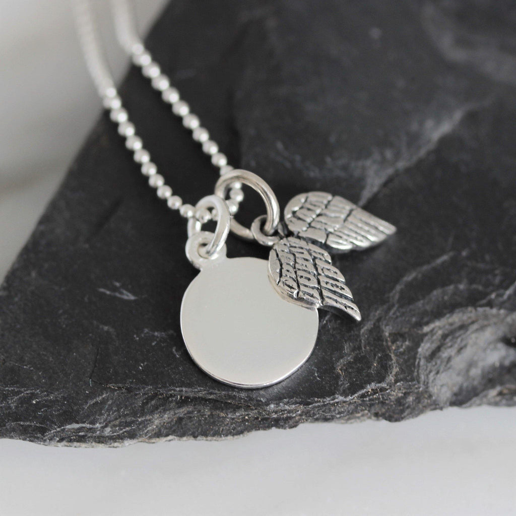 Genuine Sterling Silver 925 Disc & Angel Wing Pendant & 40cm Ball Chain Necklace