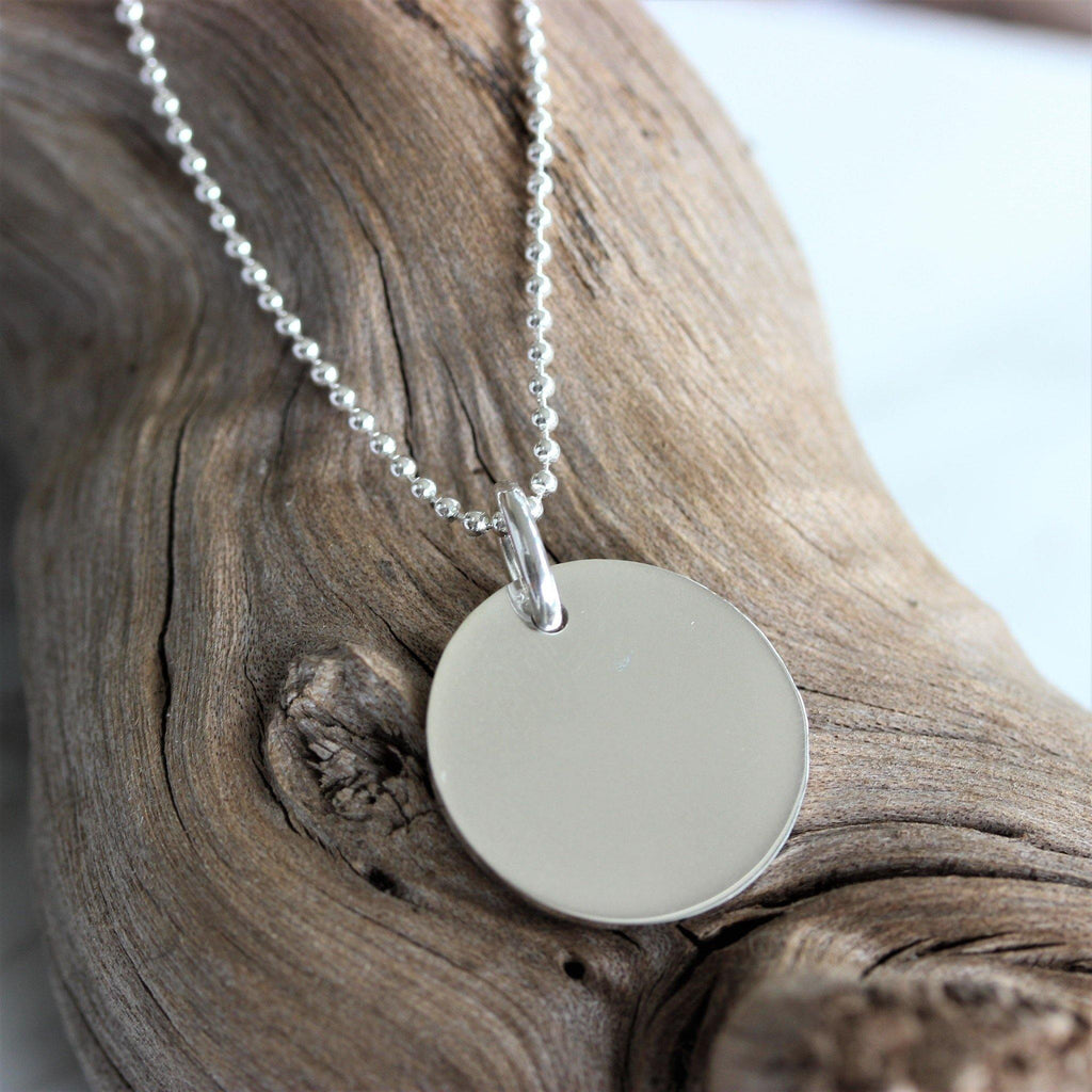 Sterling Silver 925 Big 21mm Round Disc Pendant & 45cm 1.5mm Ball Chain Necklace